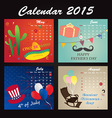 holiday calendar 2015 may june july august vector image