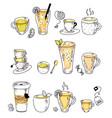 hot tea drink assortment in row doodle sketch on vector image