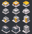 isometric buildings and warehouses vector image vector image