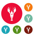 lobster icons circle set vector image