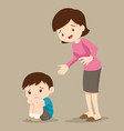 mother comforting sad boy grieving vector image vector image