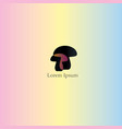 mushroom icon logo with text with overlay effect vector image vector image