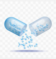 open capsule pill with falling out blue molecules vector image vector image