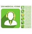 Operator Icon and Medical Longshadow Icon Set vector image vector image