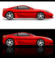 red sports car taxi on white and black background vector image vector image