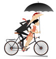romantic young couple rides on the bike vector image