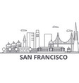 san francisco architecture line skyline vector image vector image