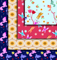 set abstract cute floral seamless patterns vector image vector image