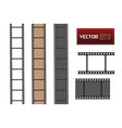 set of film strip isolated on transparent vector image vector image