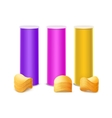 Set of Purple Pink Yellow Container with Chips vector image vector image