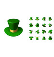 set of st patrick green hat in various positions vector image vector image