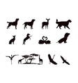 silhouettes wild animals and pets in black and vector image