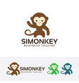 simple monkey logo design vector image