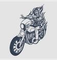 skull biker logo design vector image