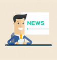 television news announcer on background tv vector image