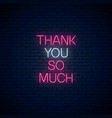 thank you so much - glowing neon inscription vector image vector image