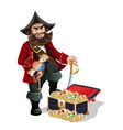 treasures chest and pirat vector image vector image