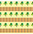 trees and fence seamless pattern vector image