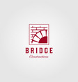vintage bridge logo construction brick emblem vector image