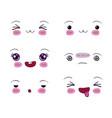 white background set facial expression kawaii vector image