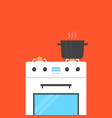 white gas stove with boiling water in pan vector image