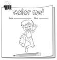 Worksheet showing a boy vector image vector image