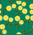 yellow dahlia on green background vector image vector image
