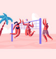 young people playing beach volleyball on seaside vector image vector image