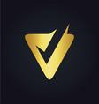 letter v check gold logo vector image