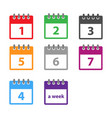a week calendar icon in modern flat style vector image vector image