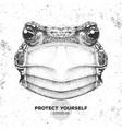 animal frog wearing face medical mask covid-19