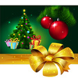 Banner with Colorful fir xmas tree and gift - vector image