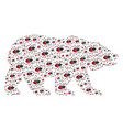 bear pattern of mite tick icons vector image