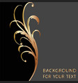 black and gold background with floral curves for vector image vector image