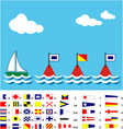 Boat with SOS flags and maritime signal flags vector image