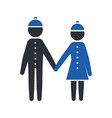boy and girl hold hands glyph icon vector image
