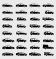 cars icons set on gray background vector image vector image