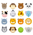 cartoon animals faces vector image vector image