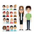 cartoon couple with portrait group people vector image