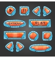 Cartoon orange buttons with blue leaves vector image