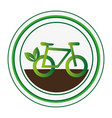 circular stamp with eco bike vector image vector image
