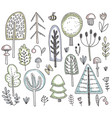 collection of hand drawn wild forest trees vector image