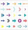 colored flat arrows collection next icons vector image