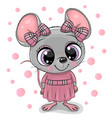 cute cartoon mouse girl in a pink dress vector image