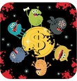 Cute monsters on the coin of dollar vector image vector image