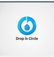 drop in circle with blue color logo concept icon vector image vector image