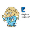 elephant engineer animals and profession abc vector image vector image
