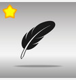 feather black icon button logo symbol vector image vector image