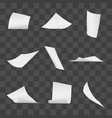 flying office white paper pages on transparent vector image vector image