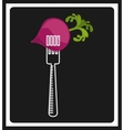 fork with vegetable icon vector image vector image